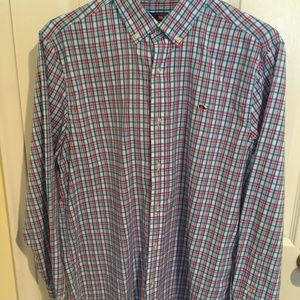 Vineyard Vine Checkered Men's Whale Shirt Large